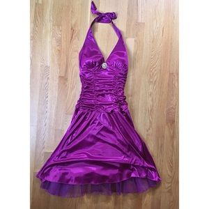 Halter prom dress with jewel in middle